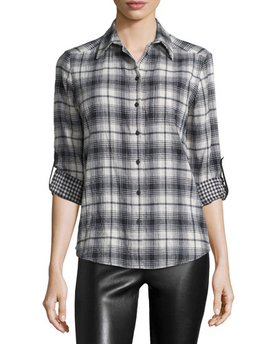Piper Long-Sleeve Plaid Blouse, Black/White