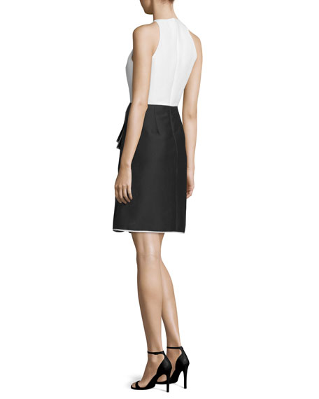 Sleeveless Combo Ruffle Cocktail Dress