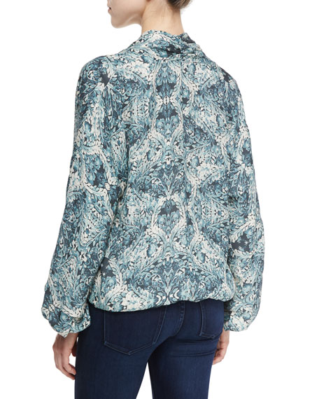 Tapestry Floral Faux-Wrap Silk Blouse