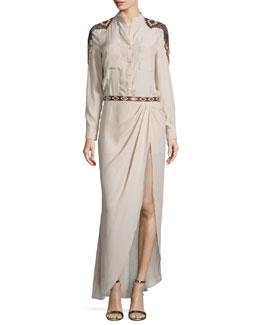 Long-Sleeve Embroidered Silk Shirtdress, Buff
