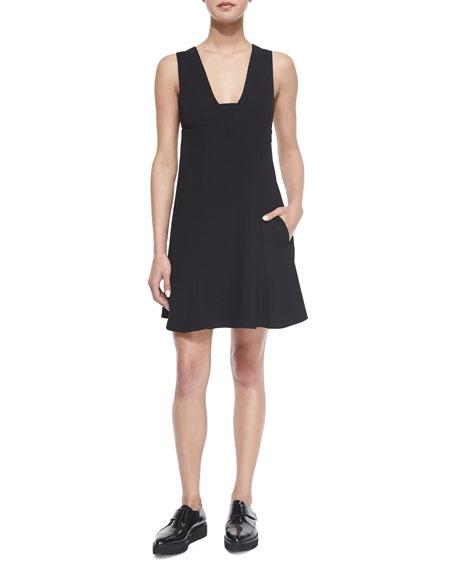 Plunge-Neck A-Line Dress, Black