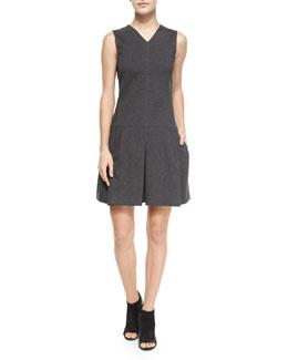 Pleated V-Neck Knit Dress