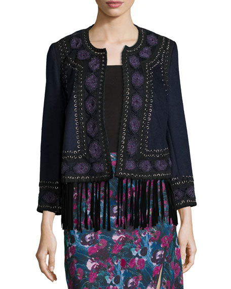 Haute Hippie Embroidered Suede-Trim Wool Coat, Midnight