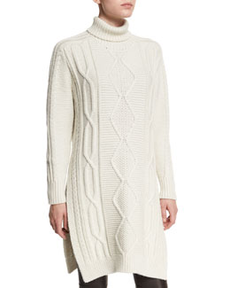 Cable-Knit Side-Slit Turtleneck Dress, Cream Melange