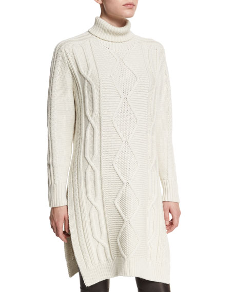 Derek Lam 10 Crosby Cable-Knit Side-Slit Turtleneck Dress,