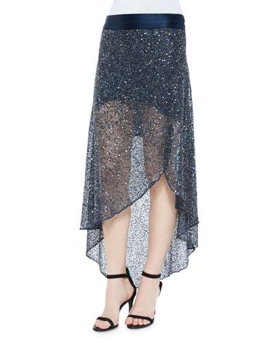 Sequin-Embellished Mesh Skirt, Midnight