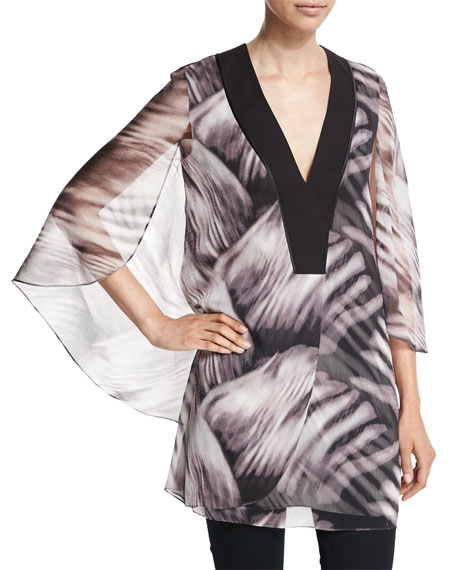 Halston Heritage Mini Kaftan with Flowy Sleeves