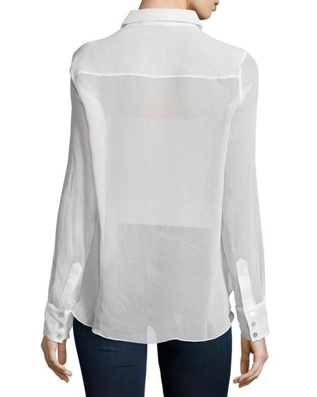 Emmanuelle Embellished Tuxedo Shirt, Indigo