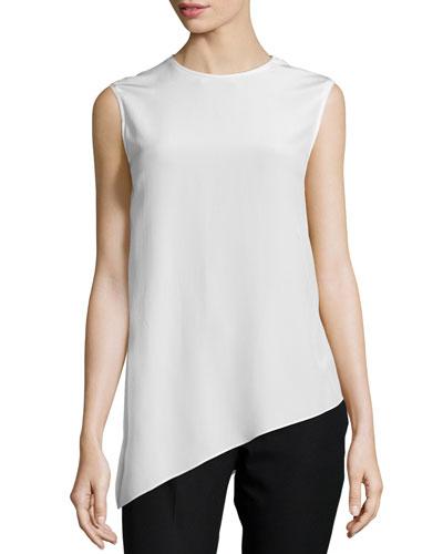 Asymmetric Silk Shell Top, Ivory