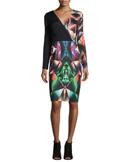 Prism-Print Long-Sleeve Sheath Dress
