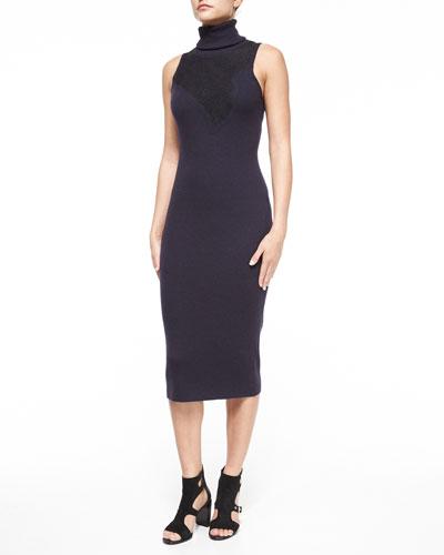 Carolyn Sleeveless Lace Turtleneck Dress