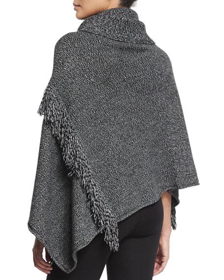Handkerchief-Hem Poncho w/Fringe, Black