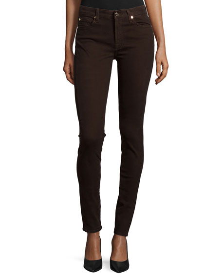 7 For All Mankind Mid-Rise Skinny Jeans, Dark Chocolate