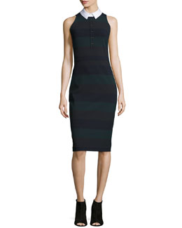 Sleeveless Cedar Pencil Dress, Green Stripe