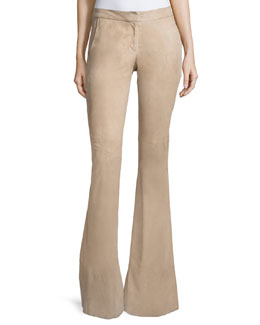 Rania Suede Flare Pants, Clay