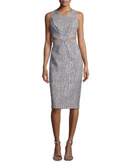 Sleeveless Printed Cutout Sheath Dress, Gray/White