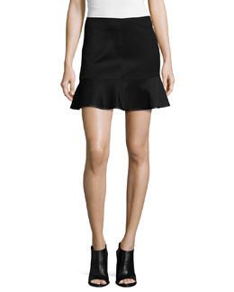 Brianna Ruffle-Hem Mini Skirt, Black