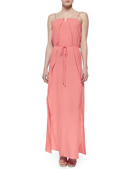 Halston Heritage Sleeveless Overlay Belted Maxi Dress