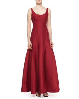 Tulip-Skirt Sleeveless Gown, Garnet