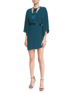 Half-Sleeve Dress W/Contrast Trim, Spruce