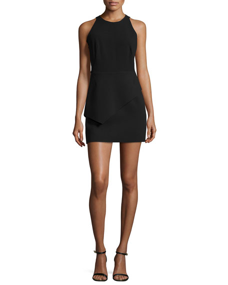 Halston Heritage Tank Dress W/Asymmetric Peplum, Black