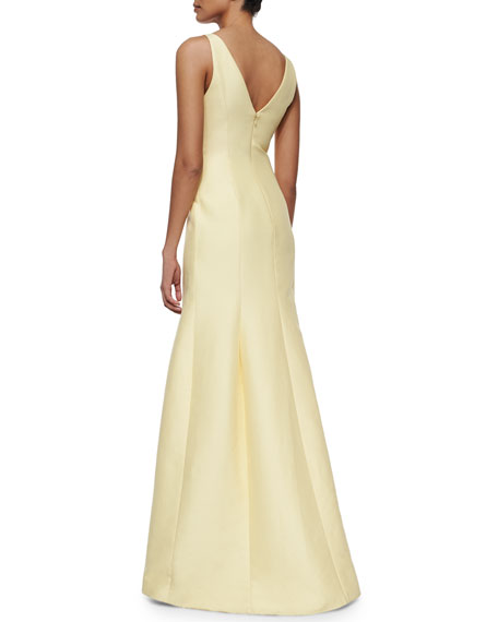 Sleeveless V-Neck Mermaid Gown, Chamomile