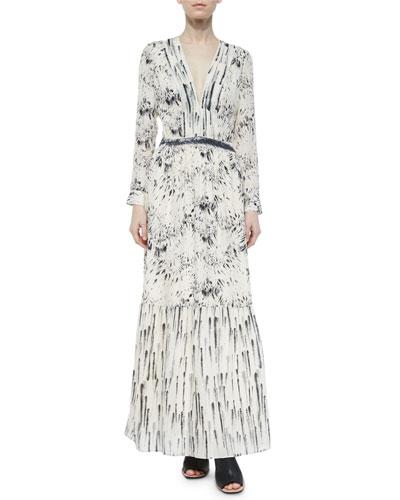 Printed Deep-V Maxi Dress