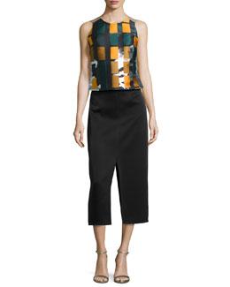 Printed/Solid Sateen Slit Dress