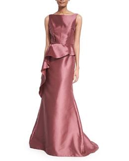 Sleeveless Peplum Ball Gown