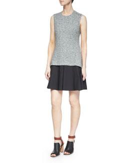 Sleeveless Cutout-Back Flared Skirt Dress