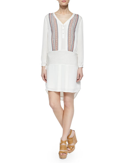 Embroidered Long-Sleeve Silk Shirtdress, White