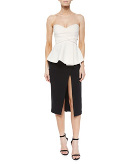 Front-Slit Midi Pencil Skirt