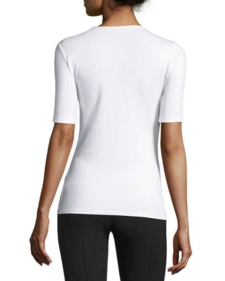 Half-Sleeve Stretch Jersey Tee, White