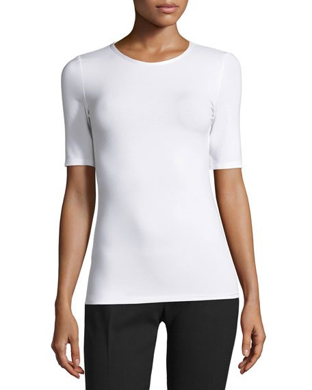 Half-Sleeve Stretch Jersey Tee, White