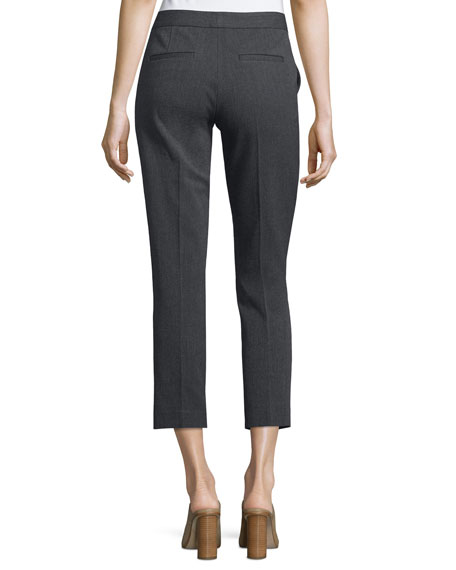 Herringbone Stretch Ankle Pants, Dark Gray