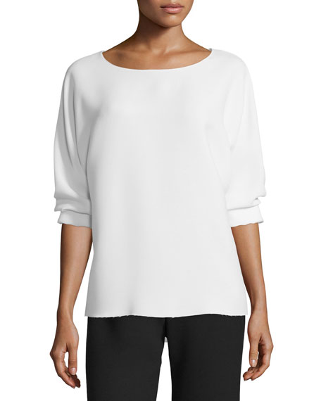 Vince Crewneck Long-Sleeve Blouse