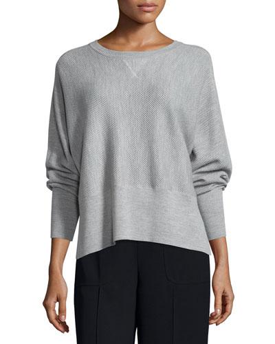 Double-Face Mesh Crewneck Sweater, Heather Steel