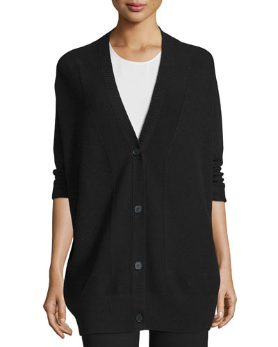 Double-Face Mesh-Panel Wool/Silk Cardigan