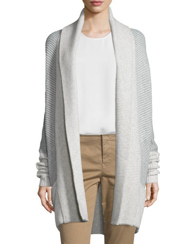 Colorblock Ribbed Cashmere-Blend Cardigan