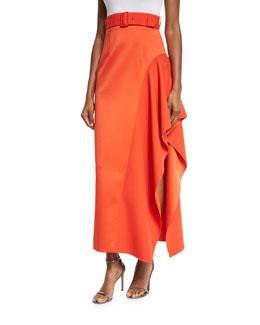 Kaya Draped Satin Skirt, Red-Orange