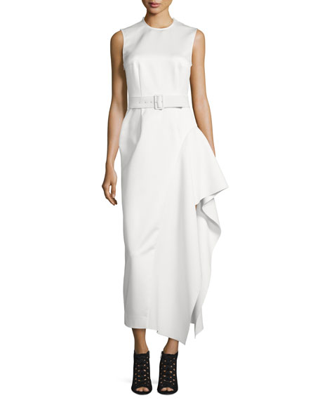 Eva Sleeveless Draped Midi Dress, Cream