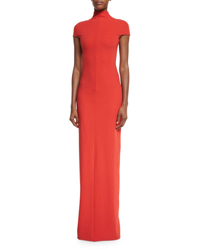 Lang Short-Sleeve Stretch Crepe Maxi Dress, Red