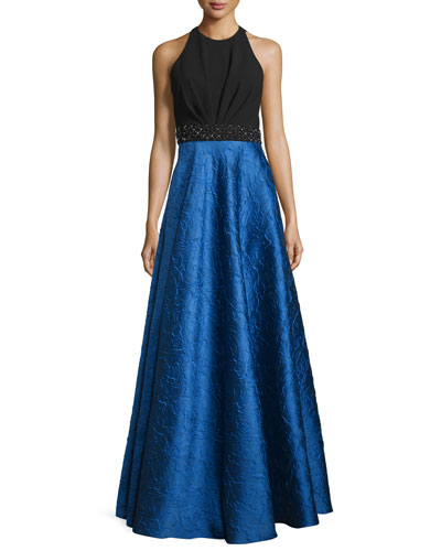 Sleeveless Ponte & Taffeta Combo Gown, Black/Royal