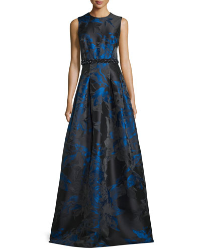 Sleeveless Pleated Floral Satin Gown, Royal/Black