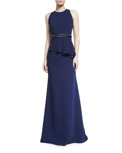 Sleeveless Crepe Peplum Gown, Midnight