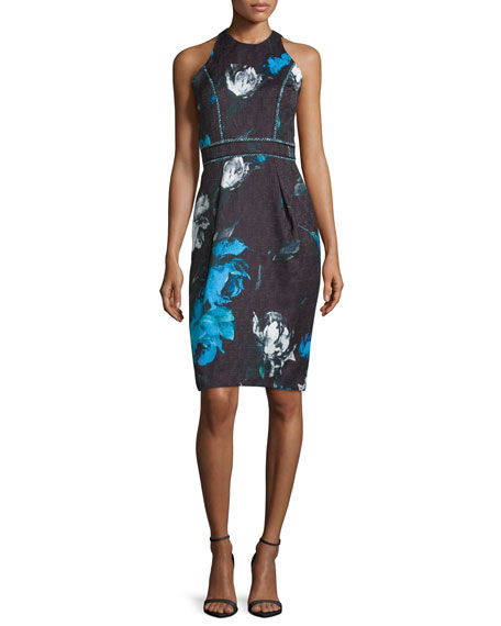 Carmen Marc Valvo Sleeveless Floral Cocktail Dress,