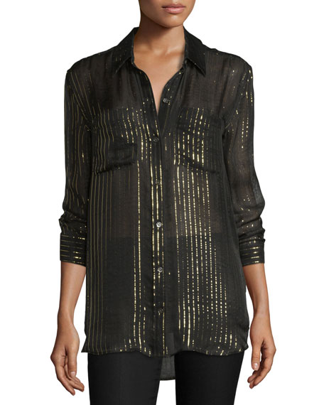 Kate Moss for Equipment Daddy Metallic-Striped Silk Shirt