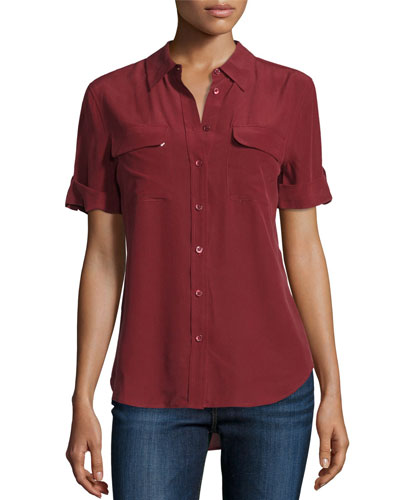 Short-Sleeve Slim Signature Silk Blouse, Burnt Scarlet