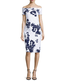 Off-the-Shoulder Blossom Cocktail Dress, Navy/White