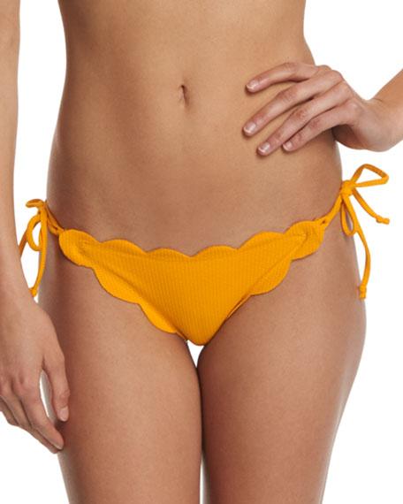 Mott Tie-Side Scalloped Swim Bottom, Papaya